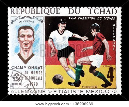 CHAD - CIRCA 1970 : Cancelled postage stamp printed by Chad, that shows Bekenbauer and German,flag, circa 1970.