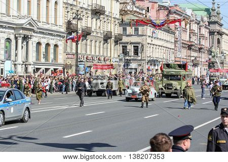 St. Petersburg, Russia - 9 May, Vintage cars in action