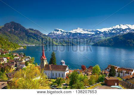 Village Weggis, Lake Lucerne (vierwaldstattersee), Pilatus Mountain And Swiss Alps In The Background