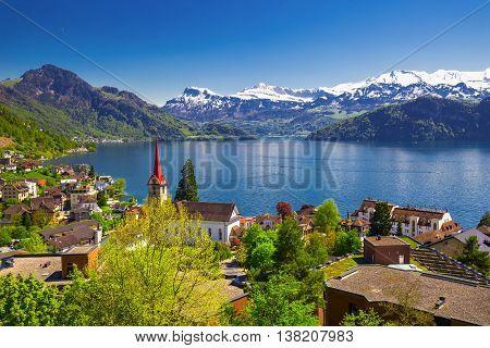 Panorama Image Of Village Weggis, Lake Lucerne (vierwaldstatersee), Pilatus Mountain And Swiss Alps