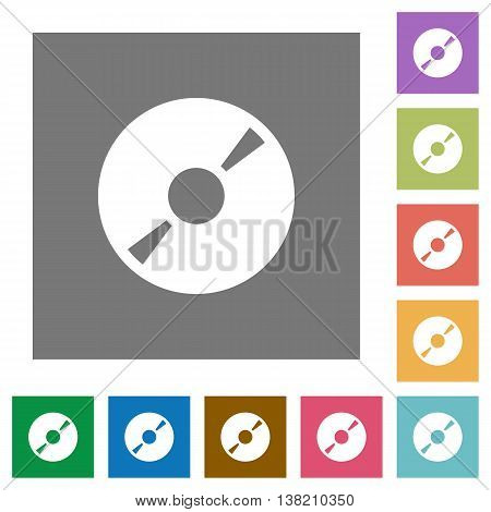 DVD disk flat icon set on color square background.