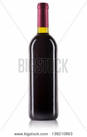 Unlabeled bottle of red wine isolated on white background.