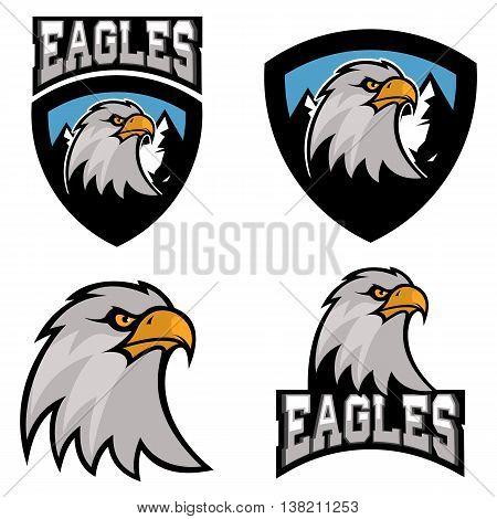 eagles. Sport team or club logo template. Vector design element for logo label emblem sign badge.