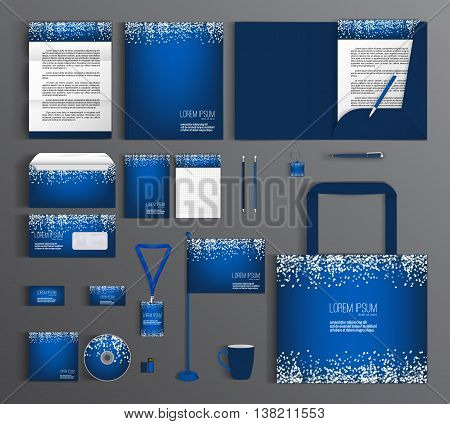 Blue corporate identity template design with a pattern of white circles. Business set stationery, brochure, card, letterhead, catalog, pennants. Suitable for brand advertising