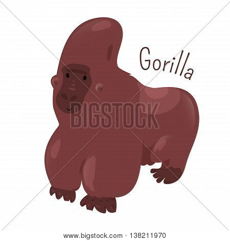 Gorilla isolated. Ground-dwelling, predominantly herbivorous apes that inhabit forests of central Africa. Part of series of cartoon savannah animal species. Sticker for kids. Child fun icon. Vector