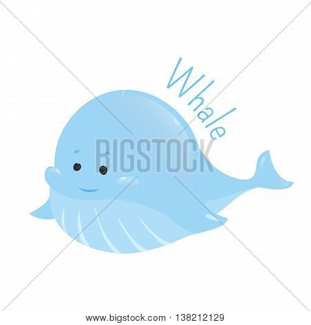 Blue whale. Balaenoptera musculus. Marine mammal. The largest and heaviest extant animal. Part of series of cartoon sea creature species. Marine animals. Sticker for kids. Child fun icon. Vector