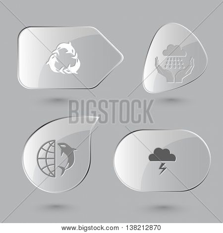 4 images: killer whale as recycling symbol, weather in hands, globe and shamoo, thunderstorm. Nature set. Glass buttons on gray background. Vector icons.