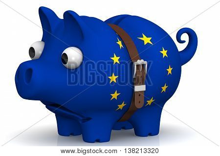 Tightened with a strap pig piggy bank with bulging eyes in the color of the European Union flag on a white surface. The concept of economic crisis in Ukraine. Isolated. 3D Illustration