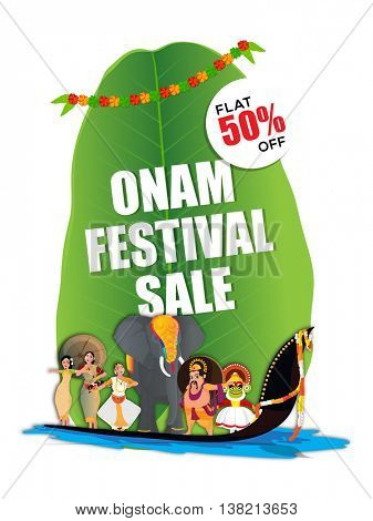 Onam Festival Sale with Flat 50% Off, Creative illustration showing culture and tradition of Kerala on big banana leaf for South Indian Festival celebration.