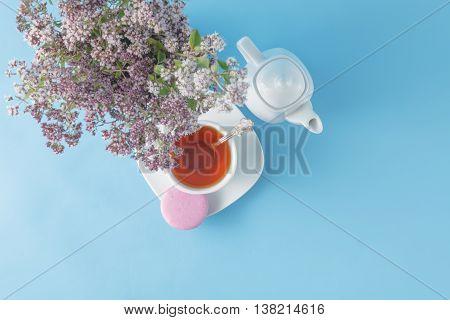 Green Tea In Beautiful Cup With Oregano