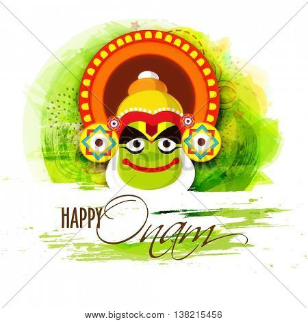 Creative illustration of Kathakali Dancer Face on abstract background for South Indian Festival, Happy Onam celebration.