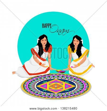 Beautiful young women making colorful rangoli on occasion of Happy Onam Festival celebration.