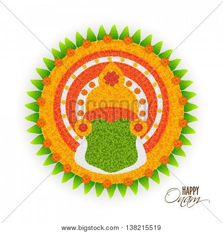 Beautiful Rangoli design with illustration of Kathakali Dancer Face for South Indian Famous Festival, Happy Onam celebration.