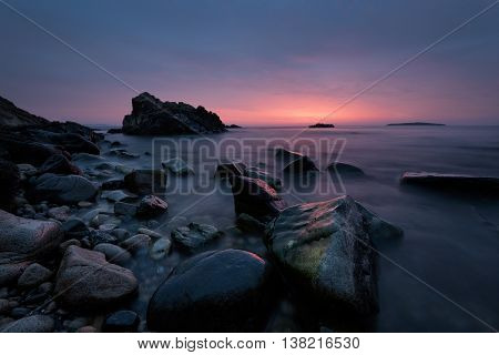Before sunrise. Magnificent sunrise view in the blue hour at the Black sea coast Bulgaria.
