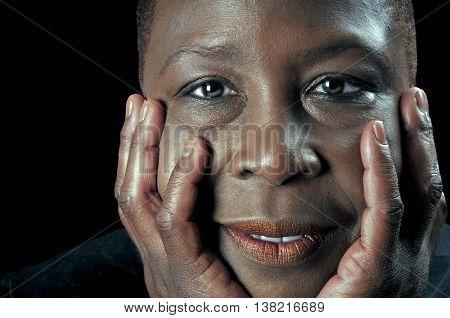 Beautiful close portrait of a Beautiful black woman