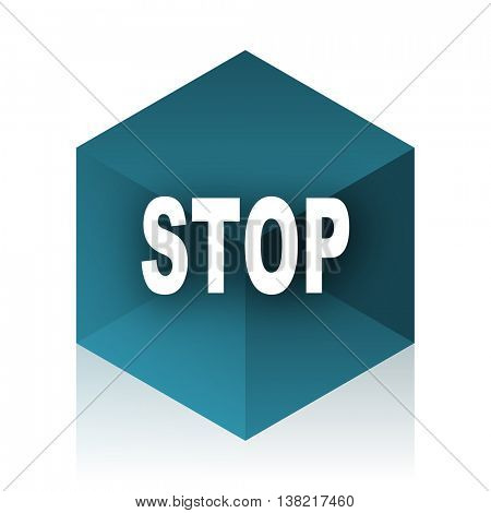 stop blue cube icon, modern design web element
