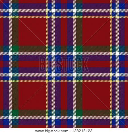 Traditional Scottish red blue green tartan pattern with white stripe made seamless for kilt or bandana