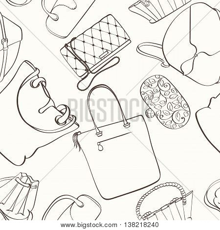 Seamless women bag pattern can be used for wallpaper, website background, wrapping paper. Fashion women bag vector bright pattern. Bag design. Fashion concept.