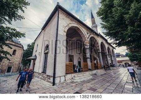 Sarajevo Bosnia and Herzegovina - August 23 2015. 16th century Ottoman style Gazi Husrev-beg Mosque located at Bascarsija area in Sarajevo
