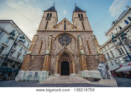 Sarajevo Bosnia and Herzegovina - August 23 2015. Main facade of Sacred Heart Cathedral in Sarajevo