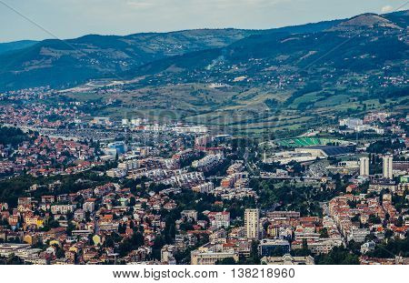 Sarajevo Bosnia and Herzegovina - August 24 2015. Aerial view from one of the hills surrounding Sarajevo
