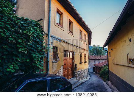 Sarajevo Bosnia and Herzegovina - August 24 2015. Houses at Alifakovac area of Sarajevo