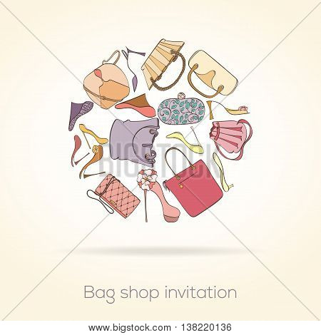 Invitation card for women bag shop. Card can be used for holiday cards, shopping invitation, postcard or fashion website banner. Bag shop design. Fashion concept.