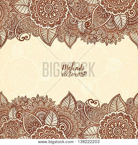 Henna tattoo colors Indian style vector floral frame