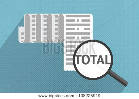 Big receipt and magnifier at total sum. Purchases and expenses