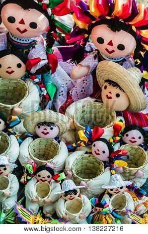 Colorful Rag Dolls Mexican Hand Crafted Souvenirs