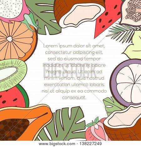 Exotic fruit invitation card can be used for holiday cards, wedding invitation, postcard or website. Healthy food frame for menu. Tropical plants template, detox program. Holliday design. Food concept