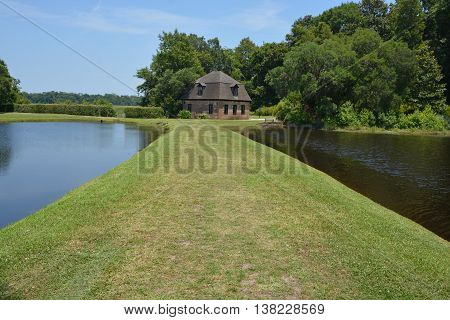 CHARLESTON SC USA JUNE 23 2016: Rice mill Middleton Place is a plantation in Dorchester County, directly across the Ashley River from North Charleston, in the U.S. state of South Carolina.