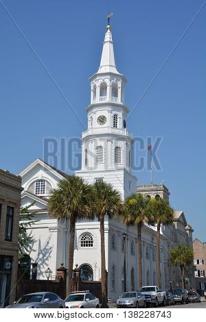CHARLESTON SOUTH CAROLINA 06 06 25 2016: St. Michael's Episcopal Church a National Historic Landmark, is one of the finest Colonial American churches in the country and the oldest church in Charleston