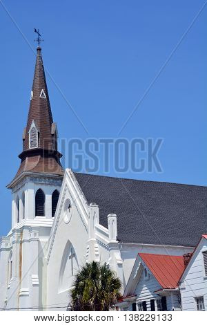 CHARLESTON SC USA 06 26 16: Emanuel African Methodist Episcopal Church in Charleston, oldest African Episcopal church in the Southern US. 06 17 15, nine people were shot and killed inside the church.
