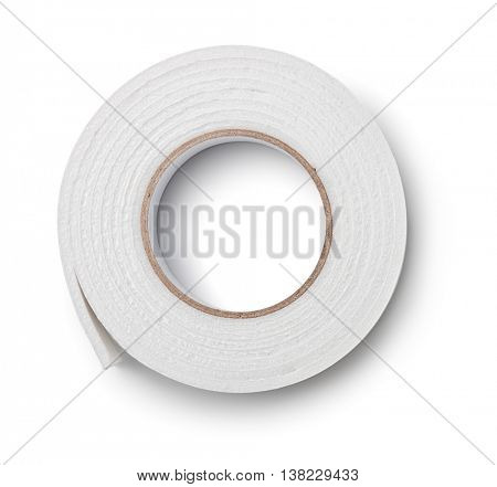 Top view of double sided foam tape isolated on white