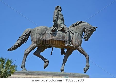 COLUMBIA SC USA 06 27 2016: Wade Hampton III equestrian statue was a Confederate cavalry leader during the American Civil War and afterward a Democratic Party politician from South Carolina.