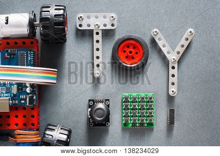 Educational construction, diy toys for adults and kids. Electronic machine made on microcontroller base for studying and fun. Joyful training tool