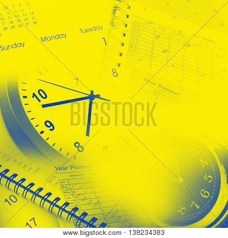 Clock faces, calendars and year planner