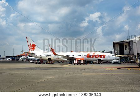 Lion Air Airplane Parked At Soekarno-hatta International Airport