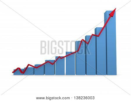 Business grapf in blue with a red upswing arrow on a white background 3d rendering