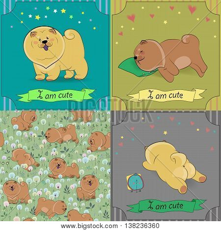 Set of cartoon dogs Chow-chow. Colorful vintage cards with funny pets. Seamless pattern with brown dogs. Vector illustration. Banners for custom text. EPS 8