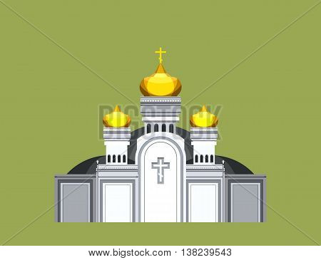 vector illustration on a beige background of the Orthodox church with gold domes