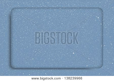 Vector white snow falling on blue background. Stock rectangular frame.