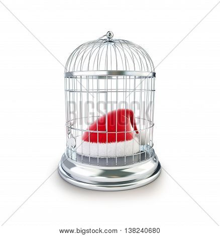 bird's cage santa hat 3d Illustrations on a white background