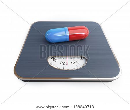 pills for weight loss floor scale on a white background. 3D illustration