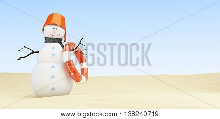 Snowman on the beach 3d Illustrations on a white background