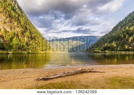Beautiful Three Valley Lake in the mountains near Revelstoke British Columbia Canada
