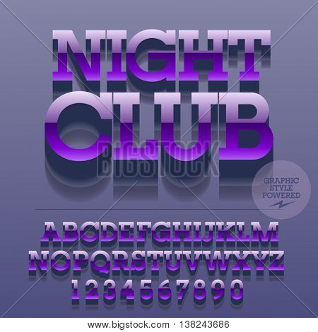 Set of glossy metallic alphabet letters, numbers and punctuation symbols. Vector reflective  logotype with text Night club. File contains graphic styles