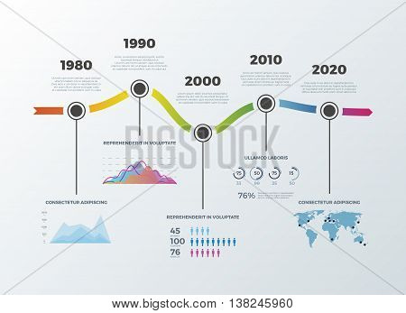 Road timeline infographic for workflow layout banner diagram number options. Timeline decade diagram and statistic presentation timeline. Vector illustration