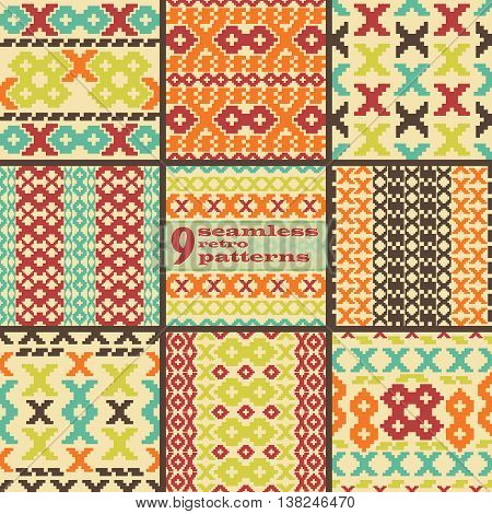 Set of 9 seamless knitted retro patterns. Elegant geometric ornaments of stair step elements in folk style. Beautiful graphic prints in vintage colors. Vector illustration for fashion design
